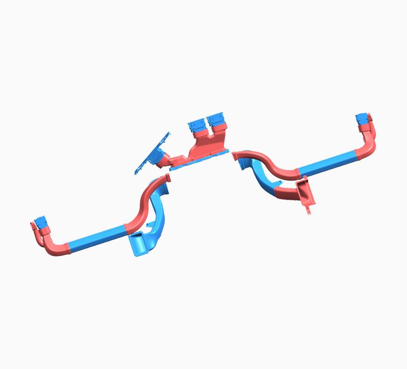 Diagrama a juego del molde del conducto del aire acondicionado automotriz